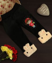 BownBee Leggings With Bunny Patterned Hem - Black