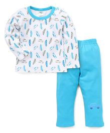 Babyhug Full Sleeves Night Suit Allover Car Print - Sky Blue White