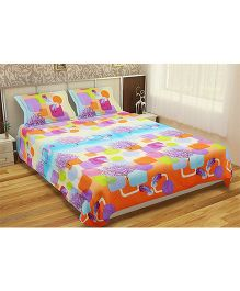 Home Printed Double Bedsheet With 2 Pillow Covers - Multi