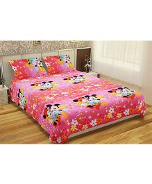 Home Mouse Print Double Bedsheet With 2 Pillow Covers - Pink