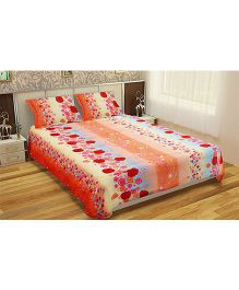 Home Multi Print Double Bedsheet With 2 Pillow Covers - Orange & Red