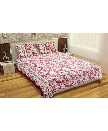 Home Union Floral Print Double Bedsheet With 2 Pillow Covers - Pink