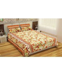 Home Union Floral Print Double Bedsheet With 2 Pillow Covers - Beige