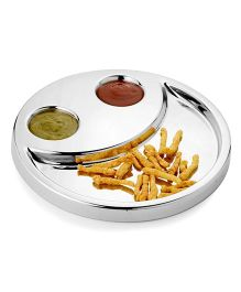 Home Union Funky Stainless Steel Snack Tray - Silver