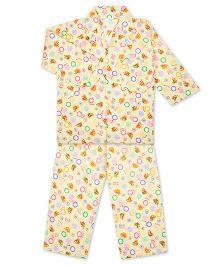 KID1 Collar Neck Night Shirt & Pajama Set - Yellow