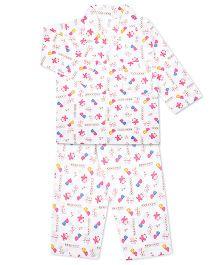 KID1 Mom's Pet Print Shirt & Pajama Set - White & Pink