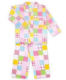 KID1 Polka Dots & Checks Print Shirt & Pajama Set - Yellow & Pink