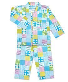 KID1 Polka Dots & Checks Print Shirt & Pajama Set - Yellow & Blue