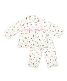 KID1 Floral Dreams Night Suit - Off White & Pink