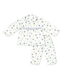 KID1 Floral Dreams Night Suit - Purple & Off White