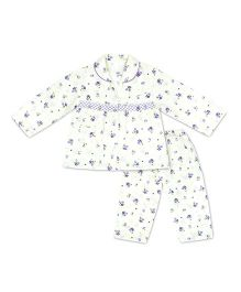 KID1 Floral Dreams Night Suit - Purple & Off White