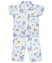 KID1 Row Your Boat Night Suit - Blue & Multicolour