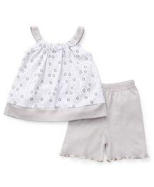 Babyhug Singlet Sleeves Top And Shorts Set Floral Print - White Grey