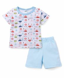 Babyhug Half Sleeves Night Suit Allover Car Print - White & Blue