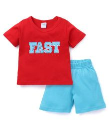 Babyhug Half Sleeves T-Shirt And Shorts Set Fast Print - Red & Blue