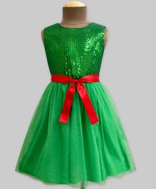 Mistletoe Sequins Tulle Swirl Dress - Green