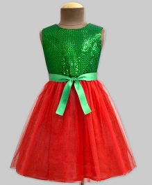 Mistletoe Sequins with Tulle Swirl Dress - Green & Red