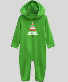 Mistletoe Long Sleeve Hooded Jumpsuit Candycane Print - Green