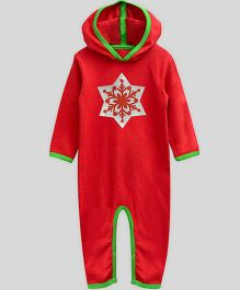 Mistletoe Long Sleeve Hooded Romper Snowflake Print - Red