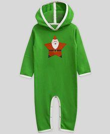 Mistletoe Long Sleeve Hooded Romper Santa Star Print - Green