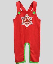 Mistletoe Dungaree Snowflake Print - Red