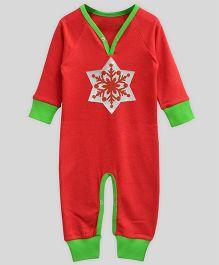 Mistletoe Long Sleeve Playsuit Snowflake Print - Red & Green