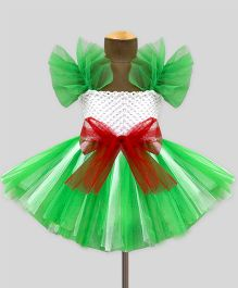 Mistletoe Celebration Tutu Dress - White & Green