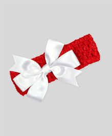 Mistletoe Holiday Crochet Headband - Red & White