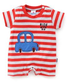 Child World Half Sleeves Stripes Romper Ride With Me Print - Red