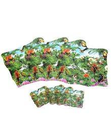 Table Mats and Coasters Pack of 8 Birds Print - Green