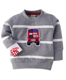 Play by Little Kangaroos Full Sleeves Sweater Vehicle Patch - Grey