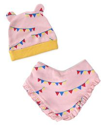 Pinehill Cap & Bib Set - Pink And Yellow