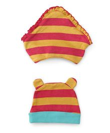 Pinehill Cotton Cap And Bib Set - Yellow Pink