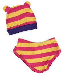 Pinehill Stripes Cap & Bib Set - Pink Yellow