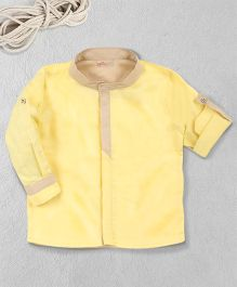 Knotty Kids Chinese Collar Full Sleeve Shirt - Yellow