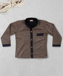 Knotty Kids Printed Full Sleeves Shirt With Front Pocket - Beige