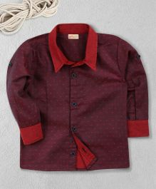Knotty Kids Dual Tone Full Sleeves Collar Shirt - Maroon