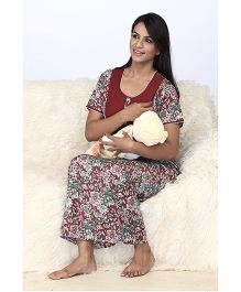 Valentine Half Sleeves Floral Printed Maternity Night Gown - Maroon