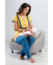 Valentine Half Sleeves Top And Printed Pajama Nightwear - Yellow Blue