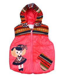 LOL Sleeveless Poly Blended Jacket With Doll Patch - Pink