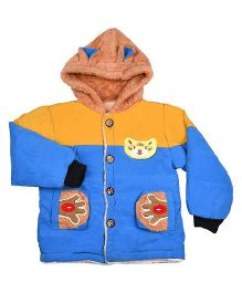 LOL Full Sleeves Hooded Jacket With Patches - Blue & Mustard