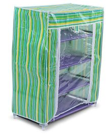 4 Shelves Storage Rack With Printed Cover - Green
