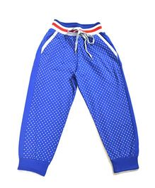 LOL Full Length Dots Print Track Pants - Royal Blue