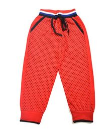 LOL Full Length Dots Print Track Pants - Red