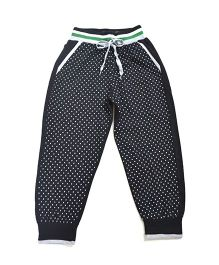 LOL Full Length Dots Print Track Pants - Black