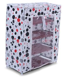 4 Shelves Shoe Storage Rack With Cover Polka Dots Print - White