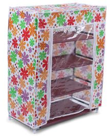 4 Shelves Shoe Storage Rack With Cover Floral Print - Multi Color