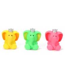 Ratnas Squeaky Bath Toys Elephants Pack Of 3 - Yellow Green Pink