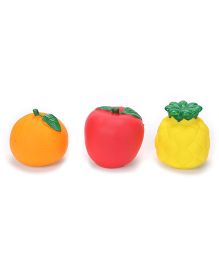 Ratnas Squeaky Bath Toys Fruits Pack Of 3 - Orange Red Yellow