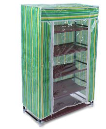 5 Shelves Storage Rack With Cover - Green